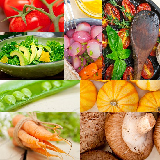 fresh hearthy healthy vegetables selection food collage composition  photo