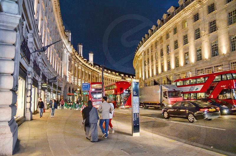 city london street traffic night lights photo
