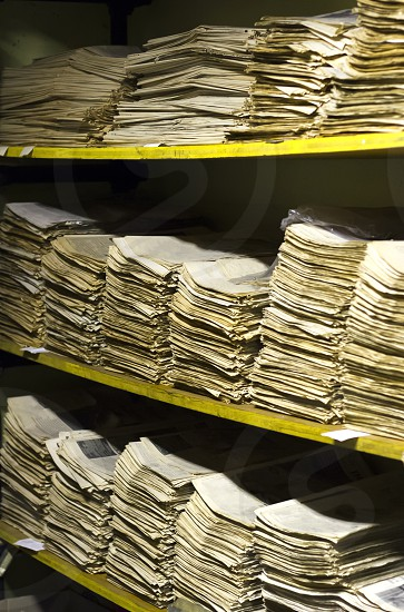Archive with old newspapers of 1970 photo
