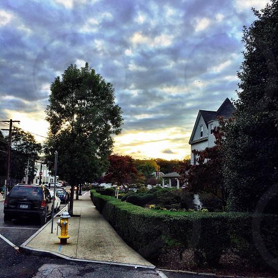 Sun sunset street urban landscape photo