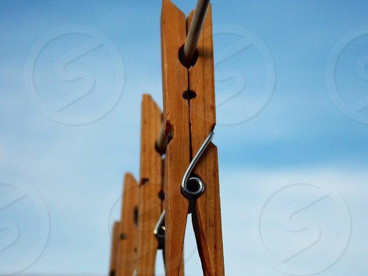 brown wooden clothes clip photo