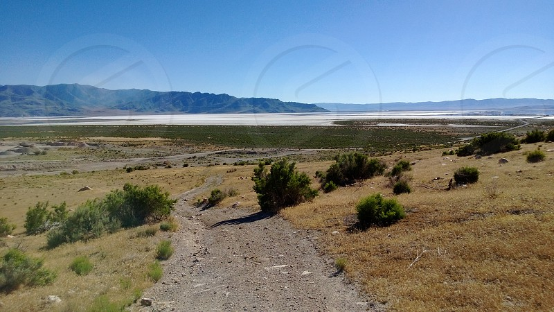 Mountain path overlooking the Great Salt Lake Utah photo