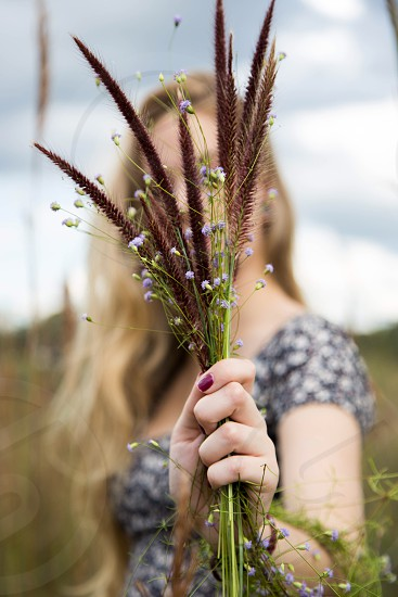 woman holding reeds photo