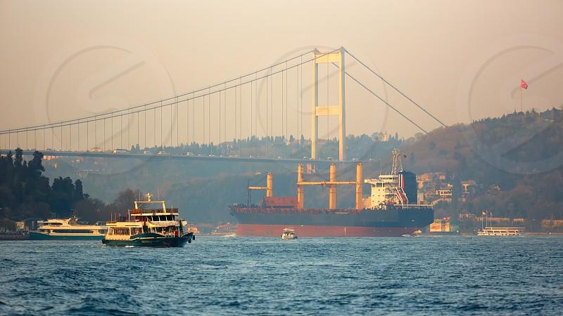 A cargo ship in the Bosphorus Istanbul Turkey photo
