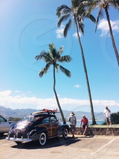 vintage car with surf board on roof palm trees photographed at North Shore Oahu Hawaii photo