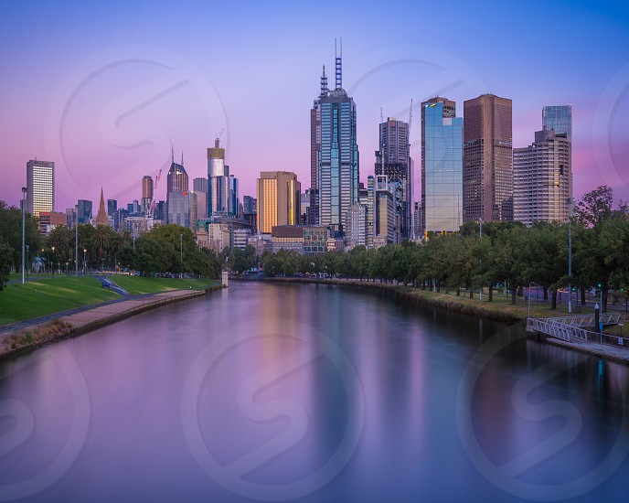 Looking along the Yarra River towards Melbourne CBD at sunrise. photo