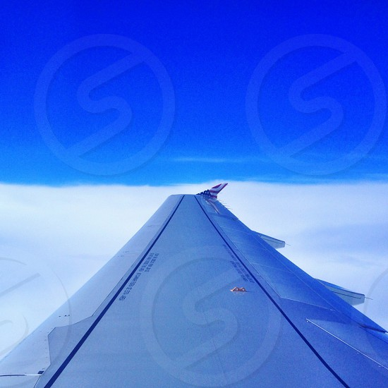 blue right airplane wing photo