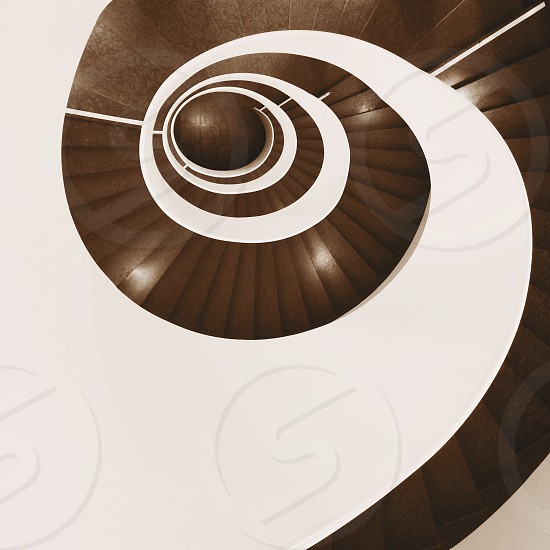 brown and white staircase high angle view photograph photo