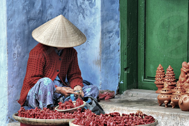 handcraft vietnam work seller colours street photo