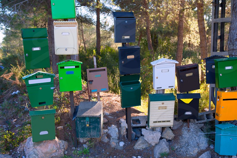 Mailboxes mess in Mediterranean Cabo de san Antonio at Alicante Spain photo