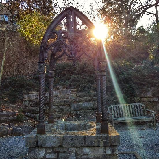 wishing well at sunrise photography  photo