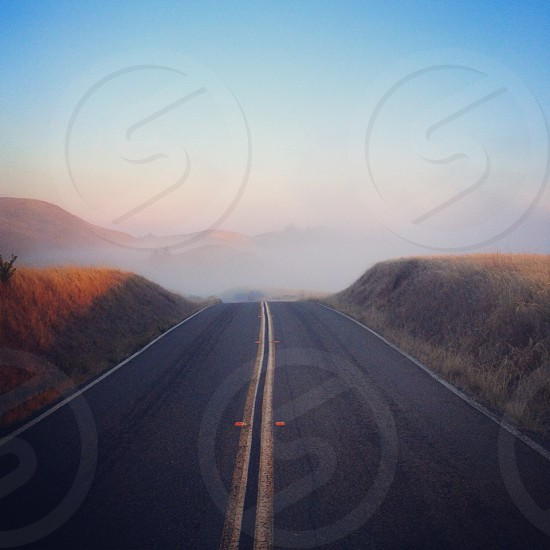 road with fog  photo