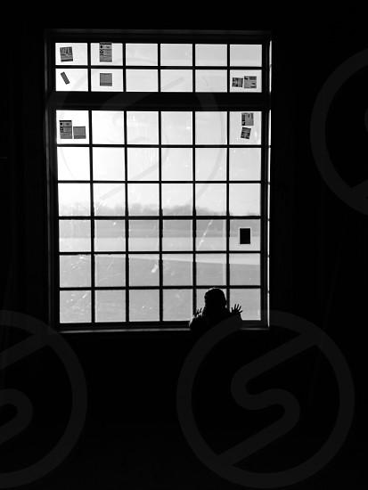 black framed window photo