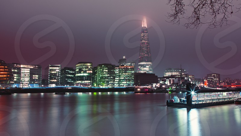 Night long exposure shot at the riverside in London on a cold winter night. photo