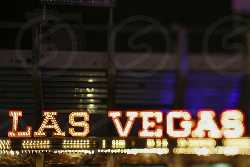 words font typography lights tilt shift lens Las Vegas Sin City neon  photo
