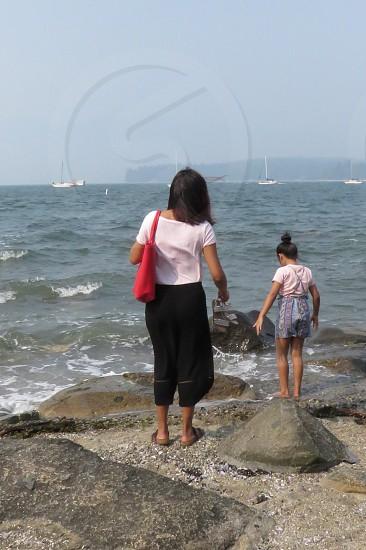 millenials  beach explore Vancouver British Columbia Canada nature ocean Pacific summer mother daughter sailboats photo