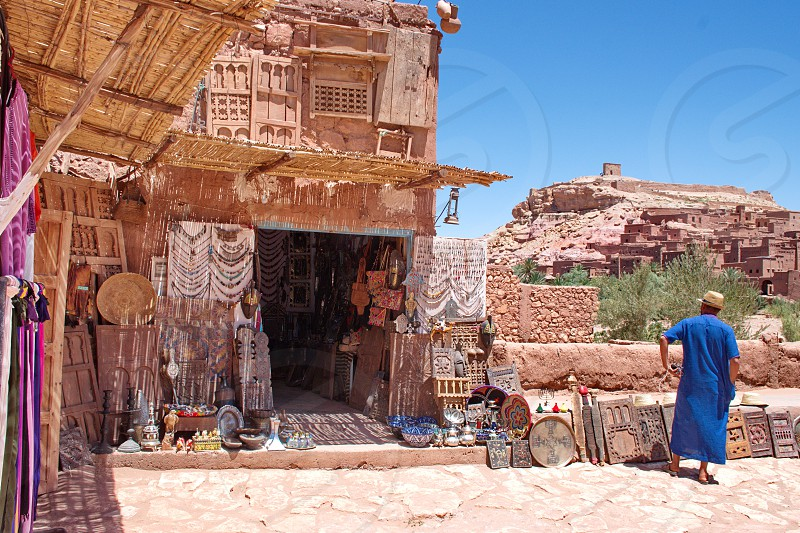 Local store with souvenirs in Kasbah Ait Ben Haddou in Morocco photo