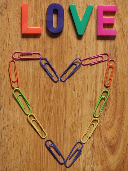 Rainbow Paperclip Heart with Love photo