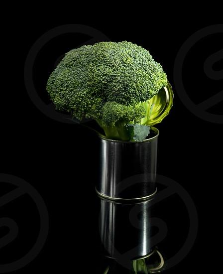 fresh vivid green broccoli on a tin can over black background photo