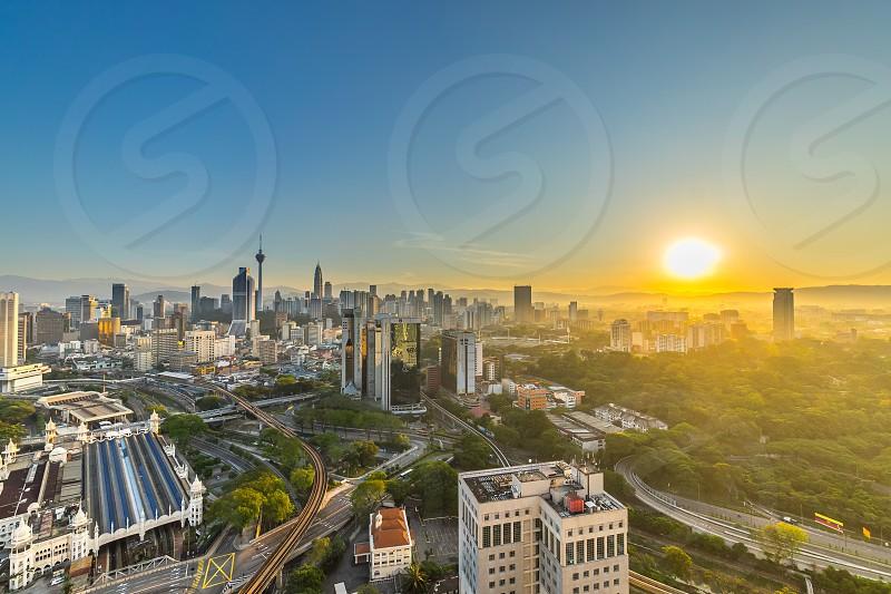 Sunrise at Kuala Lumpur city cityscape skyline photo