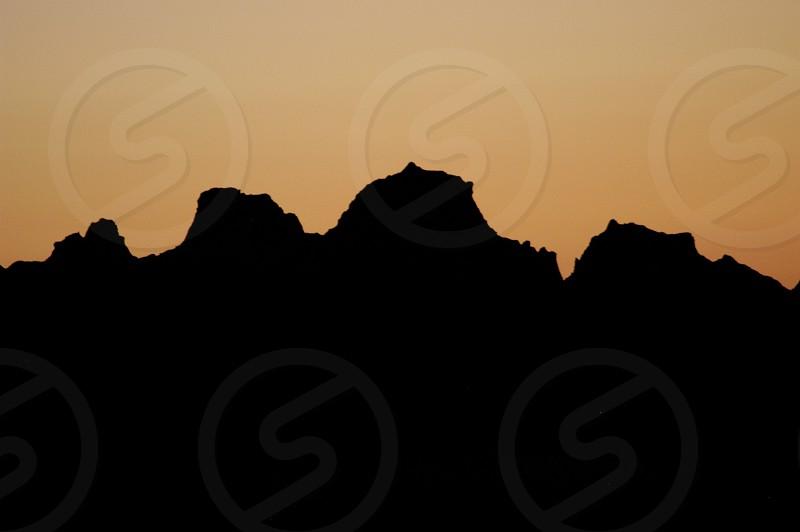 Badlands. South Dakota. Sunset. Silhouette. photo