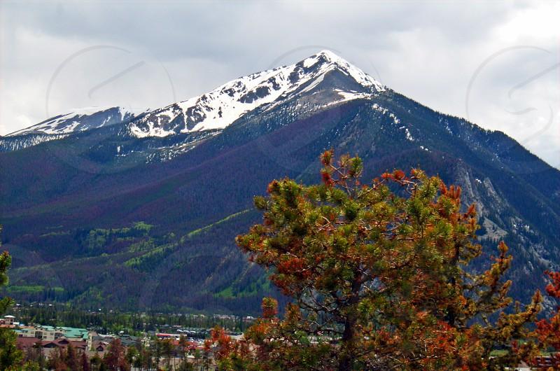 large mountain with snow peak photo