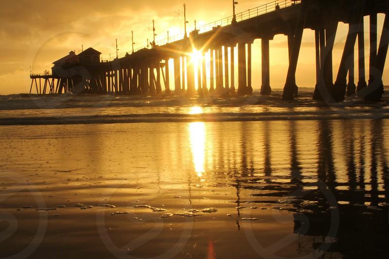 bridge silhouette sunset view photo