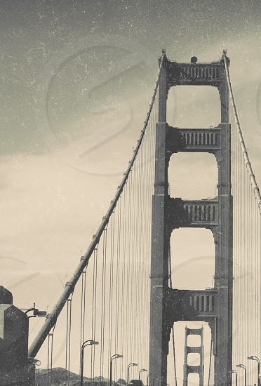 Golden Gate black and white retro dust scratches San Francisco bridge travel tourism California fine art photo