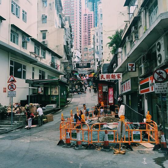 Street city hong kong city life asia asian city urban metropole road construction road work  photo