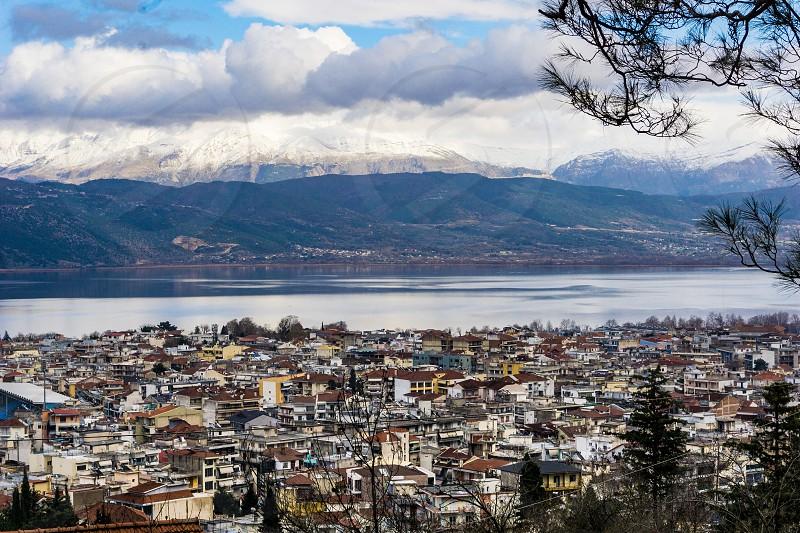 Panoramic view of Ioannina city in Greece photo