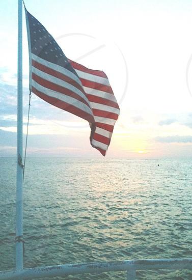 Flag American-Flag USA Water ocean  photo