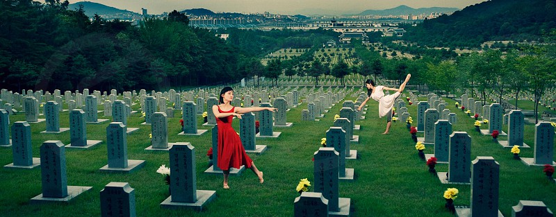 Dancers in the cemetery  photo