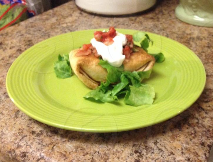 Kitchen food plate Mexican chimichanga photo