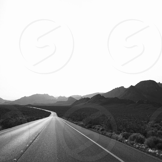 gray cemented road and grass beside road gray scale photography photo