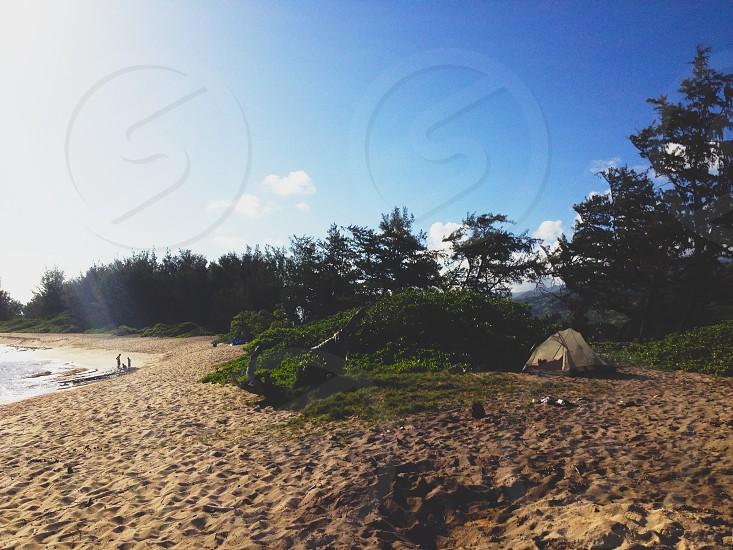 Oahu Hawaii Beach Camping Travel Tent Explore photo
