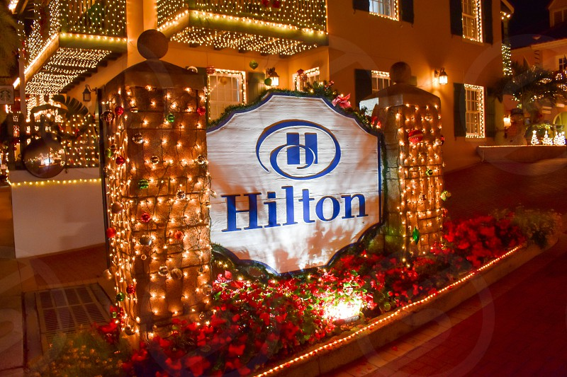 St. Augustine Florida. January 26  2019 . Illuminated Hotel Sign for Christmas season's in Old Town at Florida's Historic Coast . photo