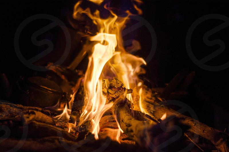 Fire in a cold night photo