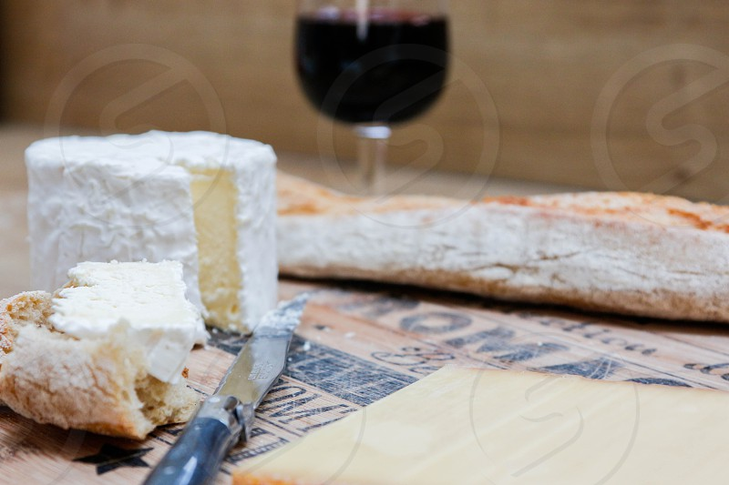 Cheese bread food fromage baguette french wine photo