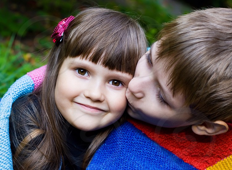 Cute brother and sister love family park joy happy funny kids child baby street  photo
