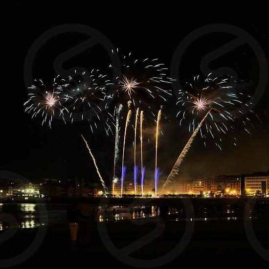fireworks display during nighttime photo