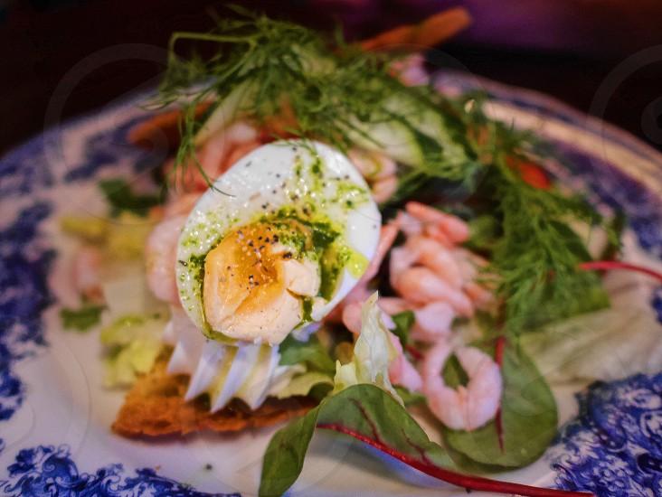 Shrimp salad  shrimps egg closeup  dressing pesto dressing dressing herbs oil cucumber  vegetables  photo