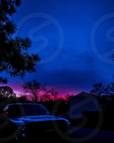 Sunset violet ultra violet purple sky color New Year winter  photo