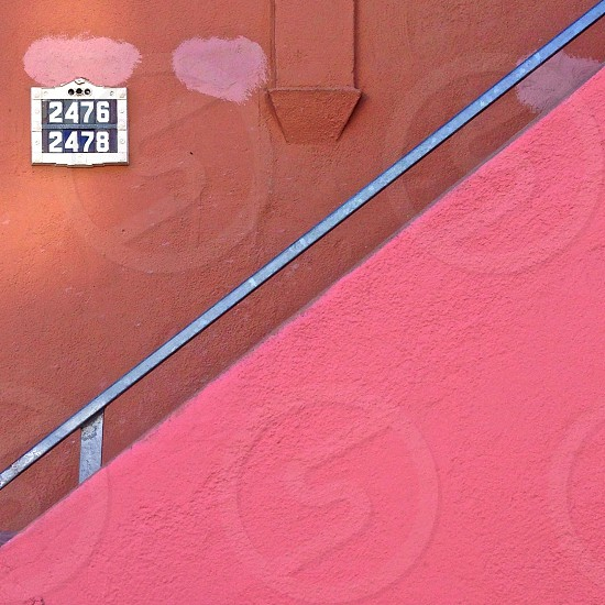 Pink stone stairwell photo