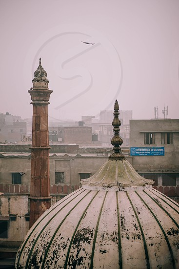 Cityscape of old Delhi view from the rooftop of Jama Masjid. photo