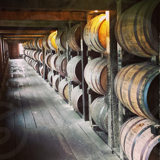 Whiskey barrels aging in the Rick house Kentucky USA photo
