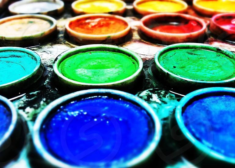 colorful paint pots photo