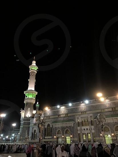 Mecca Makkah. Saudi Arabia. Muslim pilgrims during prayer.  photo