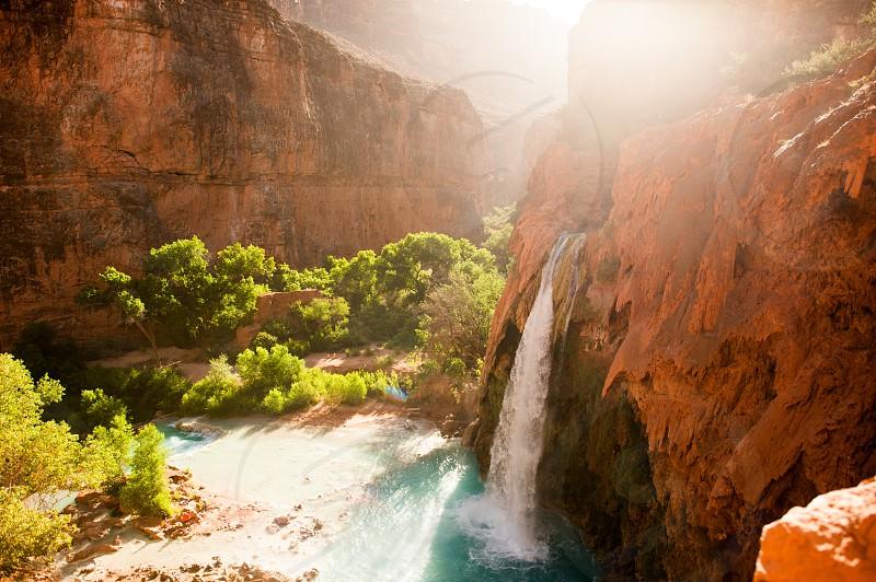 A view of Havasu Falls near the Grand Canyon in Arizona. photo