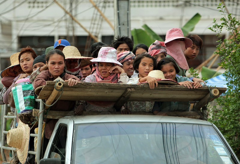 Farmung people on the way to the field near the village of Fang in the north of chiang mai in the north of Thailand in Southeastasia.  photo