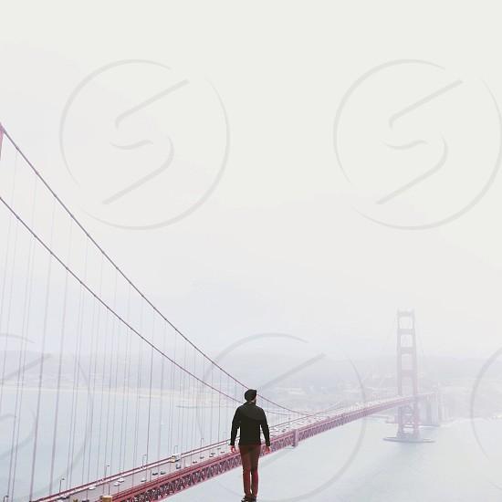 red metallic pension bridge photo